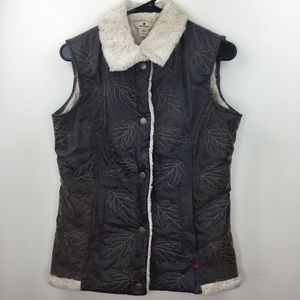 Woolrich Leather Sherpa Winter Vest Small
